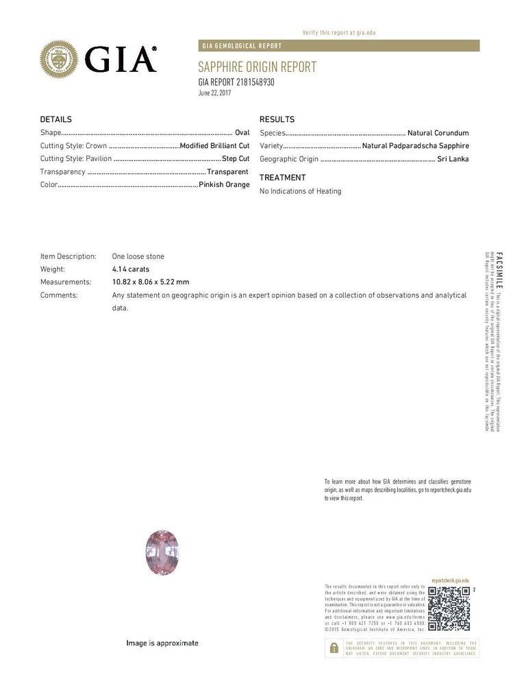 Contemporary Unheated Ceylon Padparadscha Sapphire Ring Gem 4.14 Carat No Heat Loose Gemstone For Sale