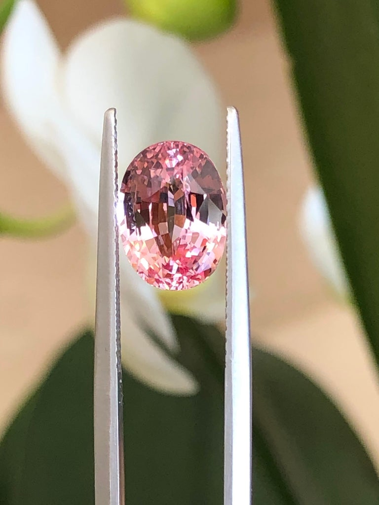 Unheated Ceylon Padparadscha Sapphire Ring Gem 4.14 Carat No Heat Loose Gemstone For Sale 1