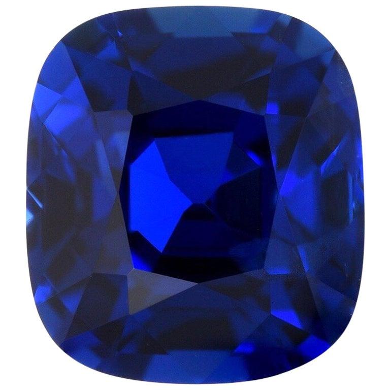 Ceylon-Saphir unbeheizt Kissen GIA zertifiziert 3,04 Karat Royal Blau 1