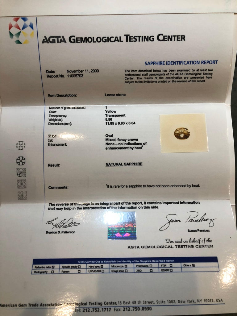 Contemporary Unheated Ceylon Yellow Sapphire Ring Gem 5.56 Carat No Heat Loose Gemstone For Sale