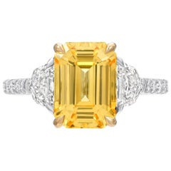 Natural Yellow Sapphire Ring Ceylon Emerald Cut Diamond Platinum Cocktail Ring