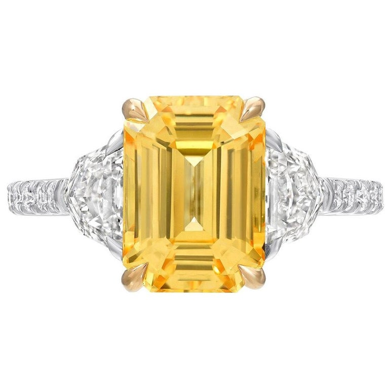 Unheated Yellow Sapphire Ring 4.47 Carats GIA Certified Natural For Sale