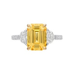 Unheated Ceylon Yellow Sapphire Emerald Cut Diamond Platinum Engagement Ring