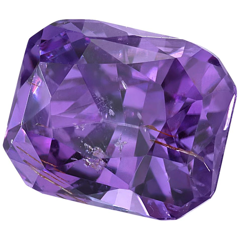 Unheated 2.14 ct. Purple Sapphire Octagon GIA, Loose 3-Stone Ring Gemstone