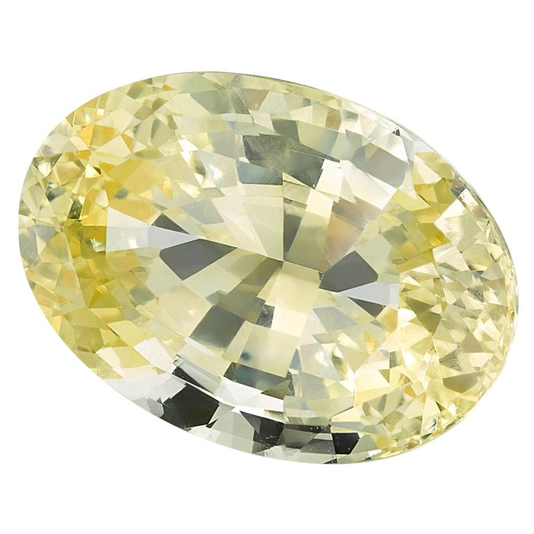 Unheated GIA Certified 3.98 Carat Oval Yellow Sapphire Loose Stone For Sale