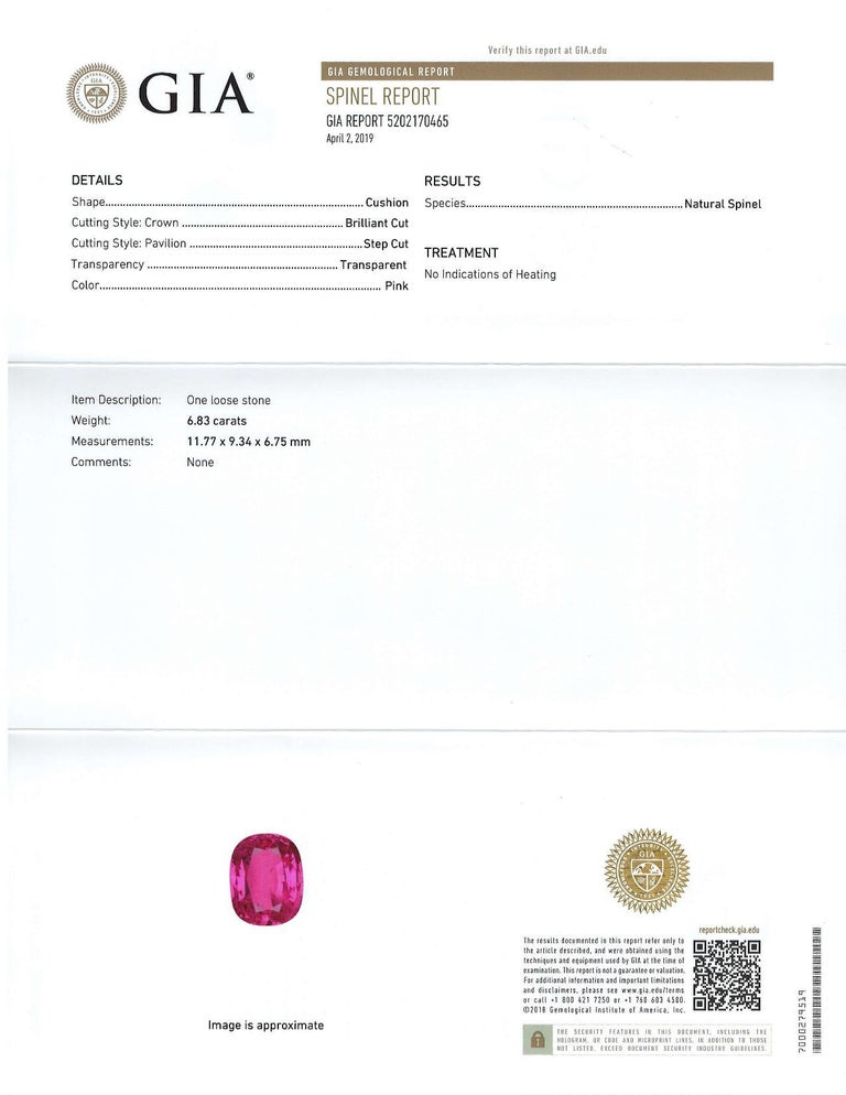 Artisan Unheated GIA Certified 6.83 Carat Cushion Pink Spinel Loose Stone For Sale