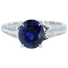 Unheated GIA Certified Natural Very Fine Sapphire and Diamond Ring