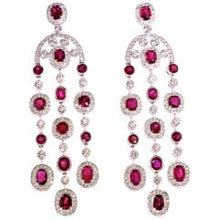 Unheated GIA Certified Ruby and Diamond Chandelier Earrings by Pierre/Famille