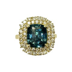 Unheated GIA Greenish-Blue Sapphire Ring