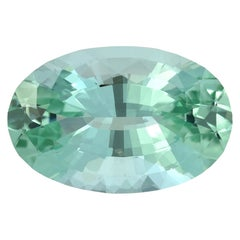 Unheated Mint Green Tourmaline Oval 33.85 Carat Natural
