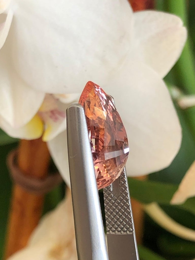 Women's Unheated Padparadscha Sapphire GRS Certified 6.26 Carat Natural For Sale