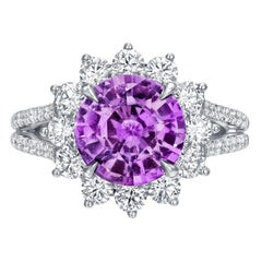 Unheated Pink Purple Sapphire Ring 3.58 Carat Round No Heat
