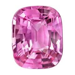 Unheated Pink Sapphire Ring Gem 3.06 Carat Cushion No Heat Ceylon Loose Gemstone
