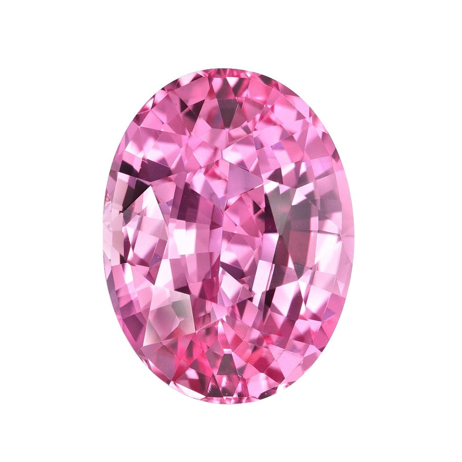 Unheated Pink Sapphire Ring Gem 3.19 Carat Oval Loose No Heat Gemstone