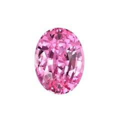 Unheated Pink Sapphire Ring Gem 3.19 Carat Oval Loose No Heat Gemstone