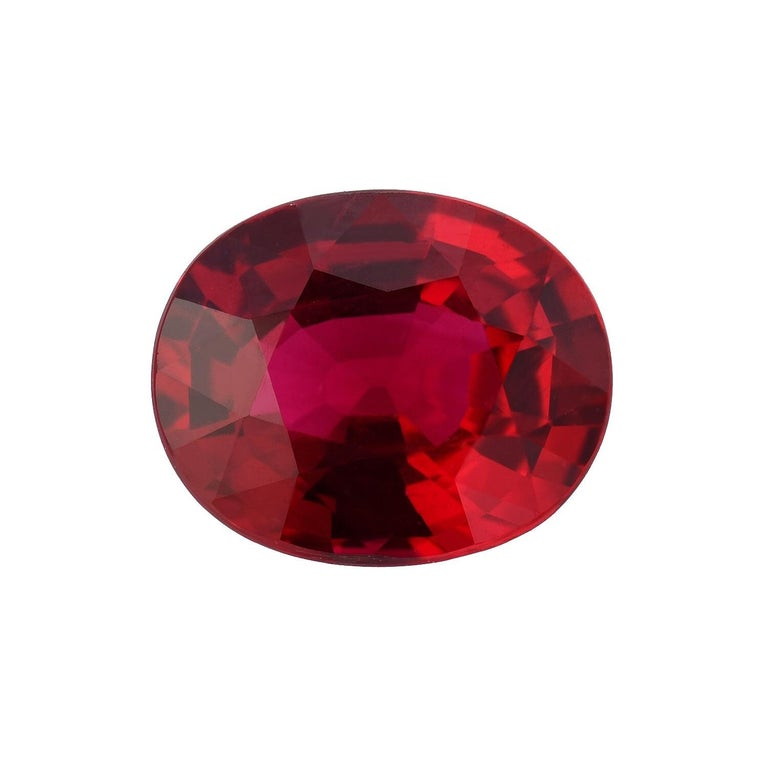 Oval Cut Unheated Ruby 2.09 Carat AGL Certified For Sale