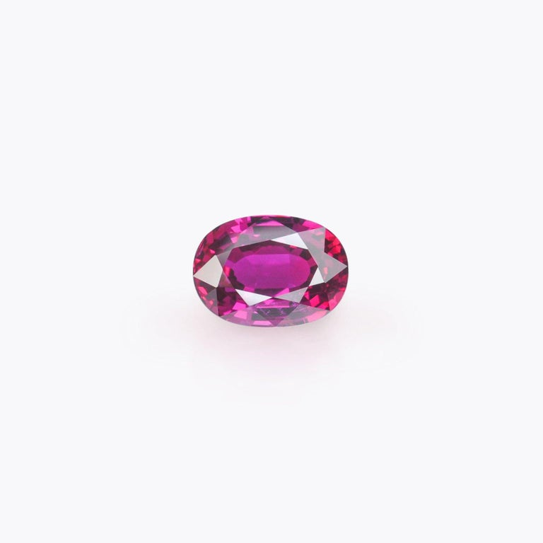 Oval Cut Unheated Ruby Ring Gem 3.04 Carat GRS Certified Vivid Red No Heat For Sale
