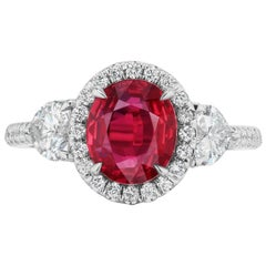 Takat 3.04 Cts. GRS Certified Unheated Ruby And Diamond Ring In 18K White Gold