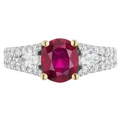Takat 2.36 Cts. GIA Certified Unheated Ruby And Diamond Ring In 18K White Gold