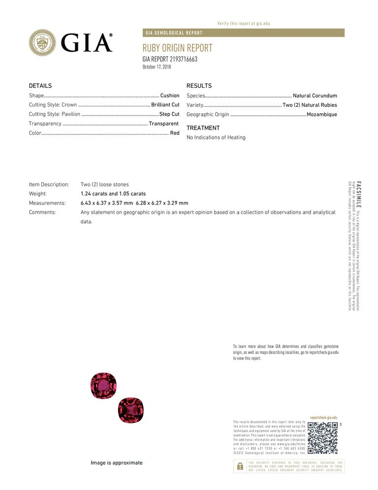 Natural Ruby Earrings Cushion Cut 4.35 Carats GIA Certified Unheated For Sale 1