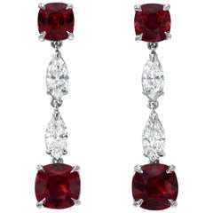 Unheated Ruby Diamond Platinum Drop Earrings GIA Certified