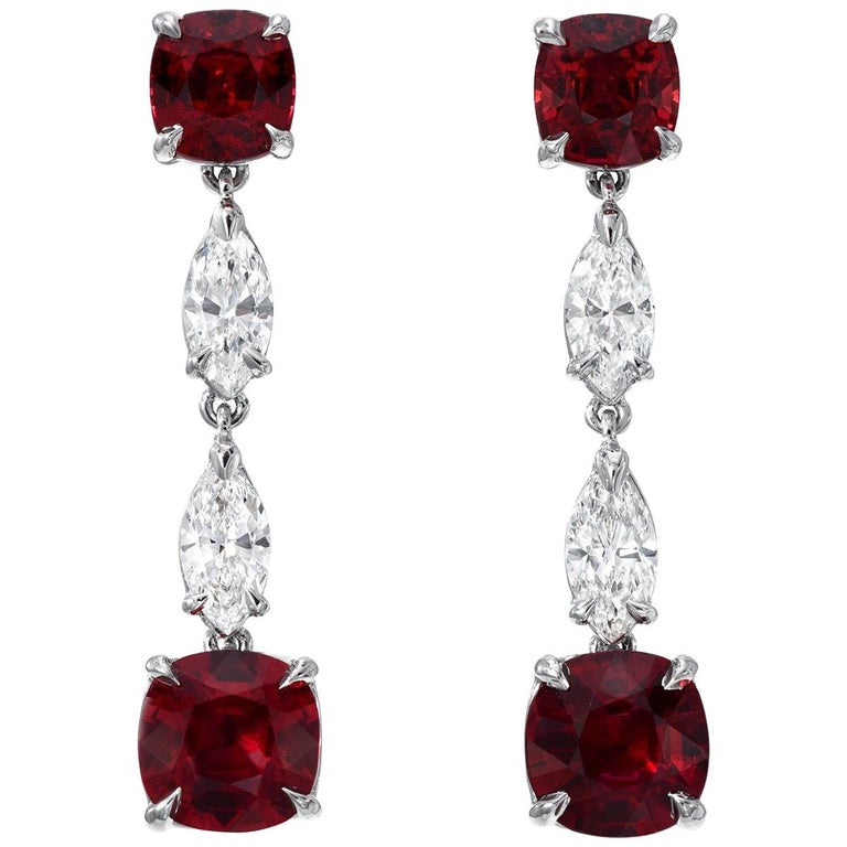 Unheated Ruby Diamond Platinum Drop Red Earrings GIA Certified For Sale