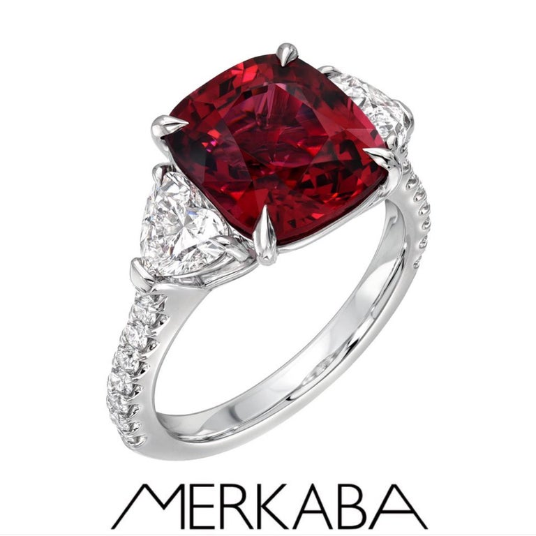 This remarkable, world-class set, is also offered individually on our Merkaba storefront. Earrings: Ultra fine GIA certified unheated Ruby and diamond earrings. The cushion Ruby pair on top weigh a total of 2.06 carats and the cushion Ruby pair on