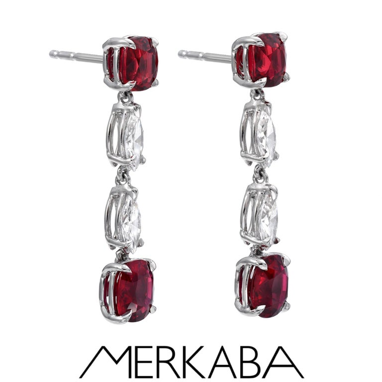 Romantic Unheated Ruby Diamond Platinum Drop Earrings Red Spinel Diamond Ring Set For Sale
