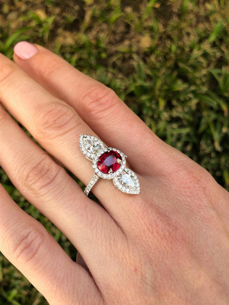 Unheated Ruby Ring 2.09 Carats AGL Certified For Sale 2