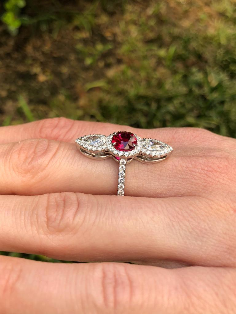 Unheated Ruby Ring 2.09 Carats AGL Certified For Sale 3