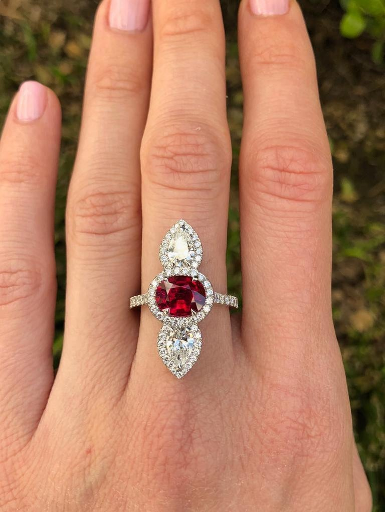 Unheated Ruby Ring 2.09 Carats AGL Certified For Sale 1