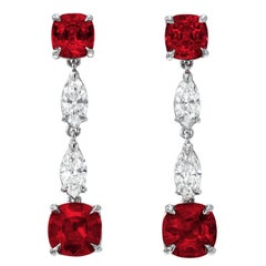 Unheated Ruby Earrings Cushion Cut 4.35 Carats GIA Certified No Heat