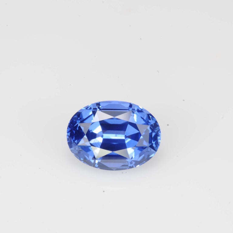 Oval Cut Unheated Sapphire Ring Gem 4.14 Carat No Heat Oval For Sale