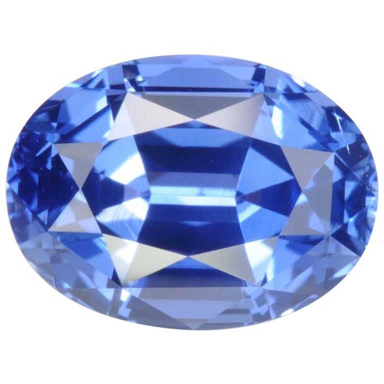 Unheated Sapphire Ring Gem 4.14 Carat No Heat Oval For Sale