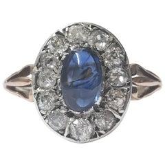 Unheated Sapphire Diamond 18 Karat Ring