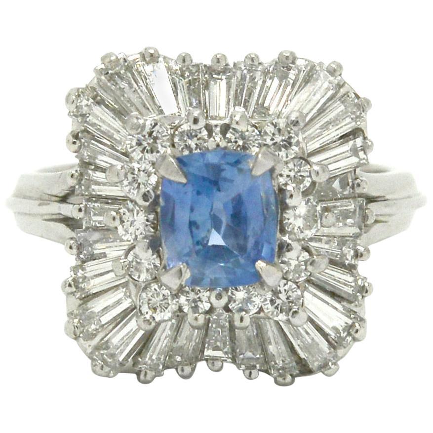 Unheated Sapphire & Diamond Ballerina Ring Over 3 Carat Cornflower Blue Ceylon