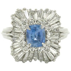Unheated Sapphire & Diamond Ballerina Ring Over 3 Carat Cornflower Blue Ceylon