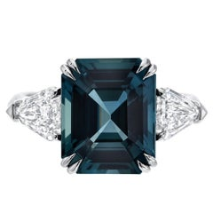 Unheated Green Blue Sapphire Diamond Engagement Cocktail  Ring GIA 6.07 Carat