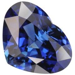 Unheated Sapphire Heart Shape 7.57 Carat Gem No Heat