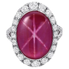 Unheated Star Ruby Ring 9.91 Carat GIA Certified No Heat