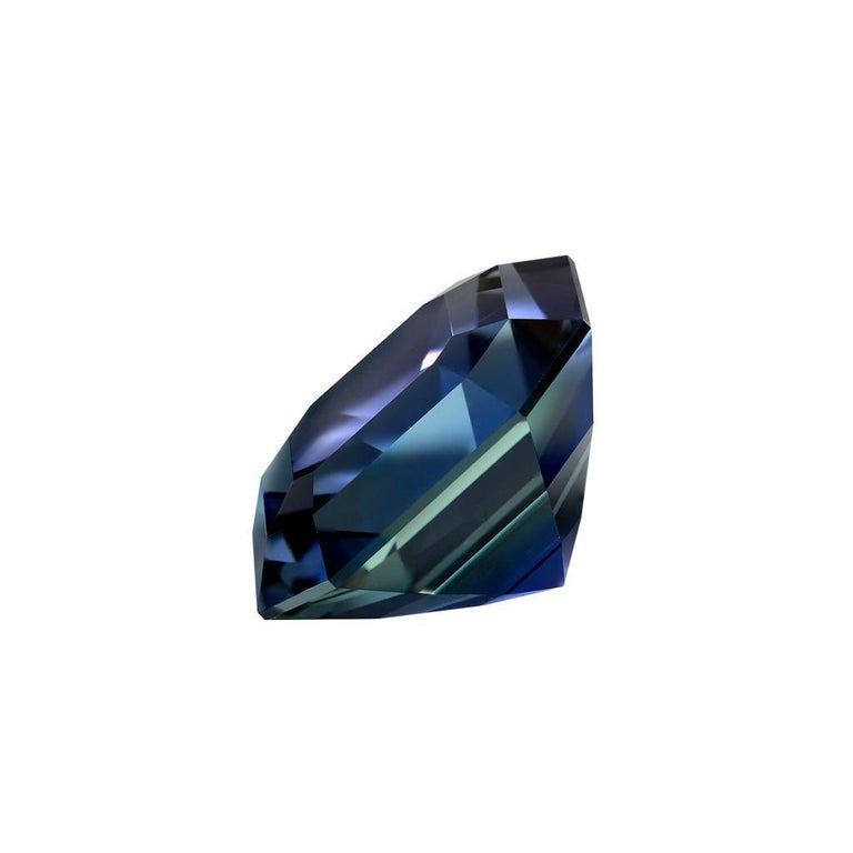This spectacular 4.02 carat unheated Tanzanite Asscher Cut, is a one of a kind, collection quality gem.  Unheated Tanzanites displaying this type of hue, clarity and cut, are very scarce and represent the finest of their kind globally. Merkaba