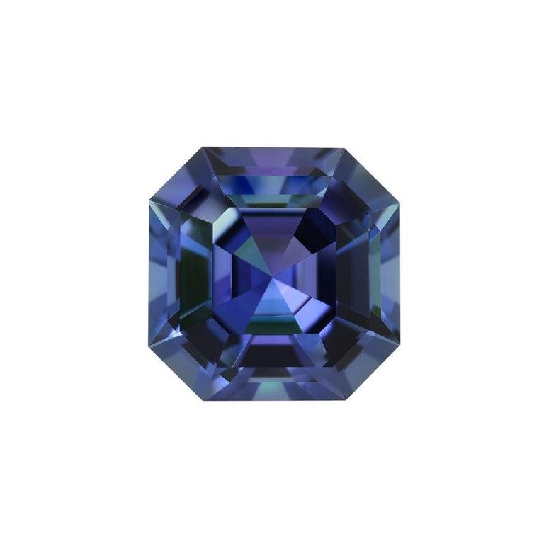 Emerald Cut Unheated Tanzanite Asscher Cut 4.02 Carat AGL Certified For Sale