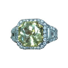 Unheated Yellow Sapphire, 8.85 Carat, Diamond Ring, Sri Lanka