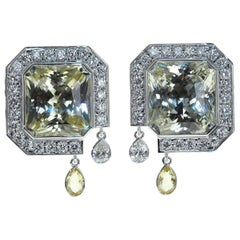Unheated Yellow Sapphire Diamonds 18 Karat White Gold Art Deco Earrings