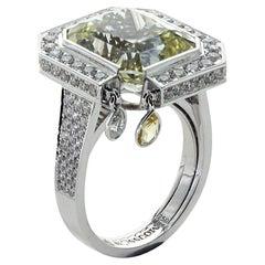 Unheated Yellow Sapphire Diamonds 18 Karat White Gold Art Deco Ring
