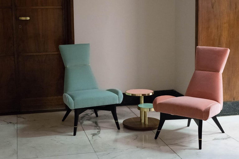Italian Uni - Pink Armchair with Gilt Details on the Backrest and Legs For Sale
