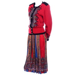 Uni Collection by Anne Crimmins Pattern Mix Silk Skirt & Sweater in Red & Blue