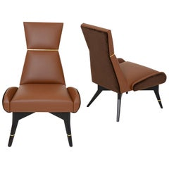 Uni, Leather and Velvet Armchair with Gilt Details on the Backrest and Legs