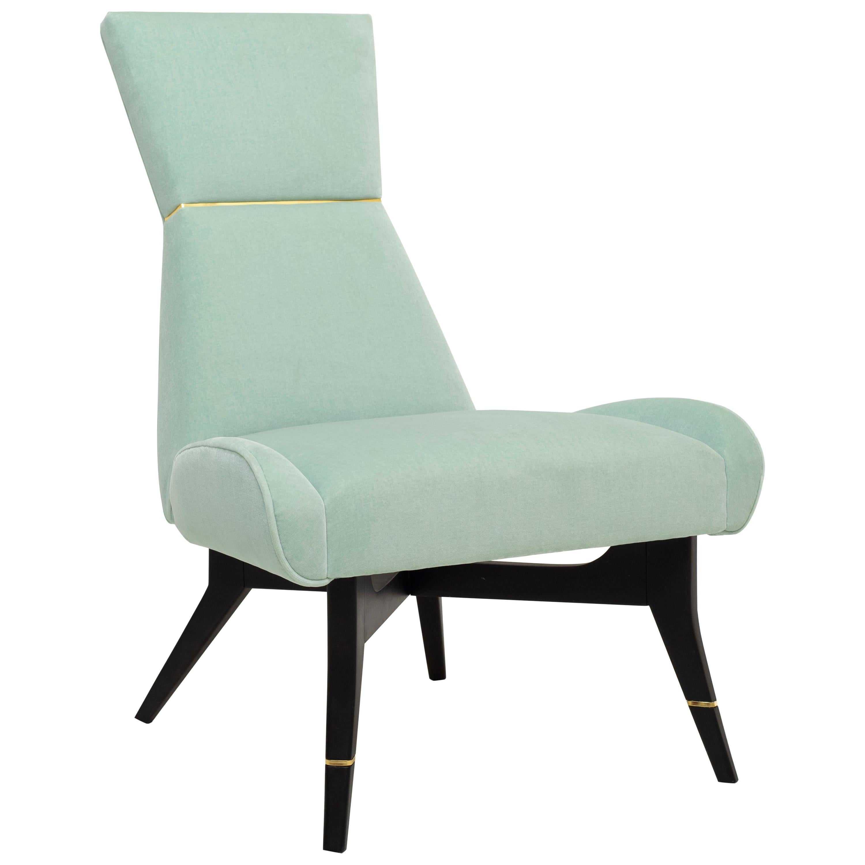 Uni, Light Green Armchair with Gilt Details on the Backrest and Legs