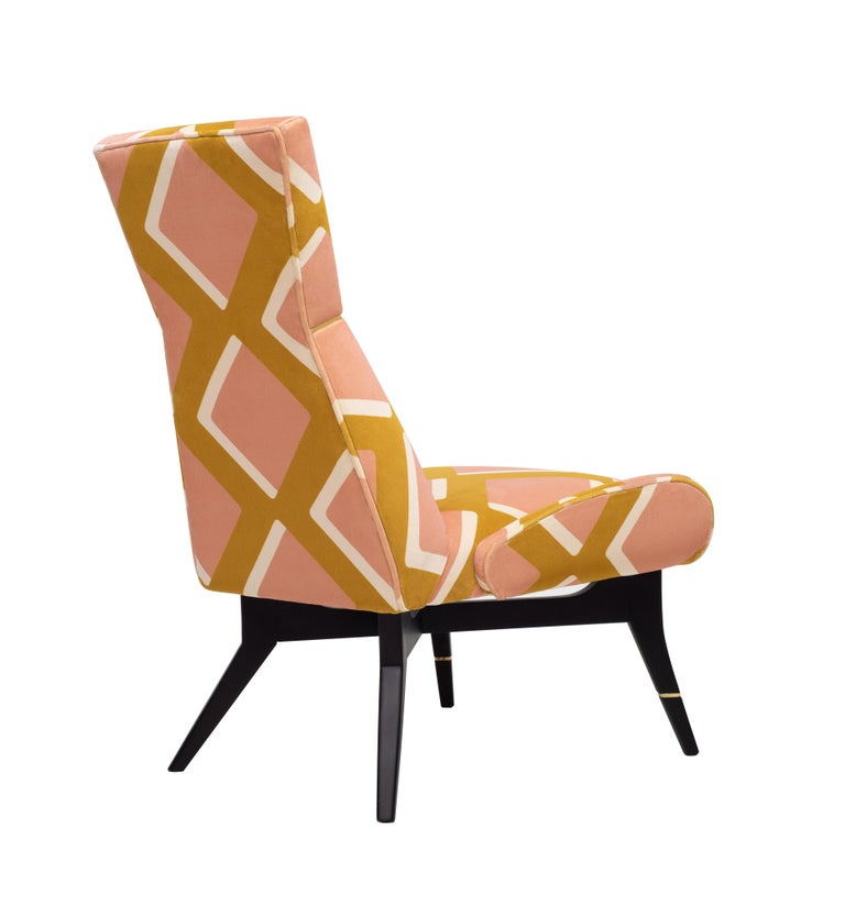 Modern Uni Special, with Diamonds Velvet by Pierre Frey, Hourglass-Shaped Backrest For Sale